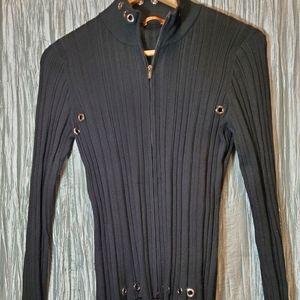 ESSENDI Black Zippered Top with Metal Grommets